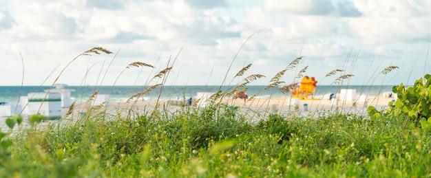 Weg naar het strand in miami florida met oceaanachtergrond