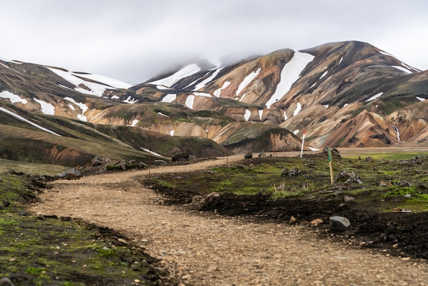 Weg naar landmanalaugar op de hooglanden van ijsland.