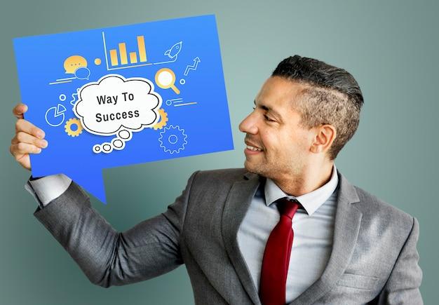 Weg naar succes tekstballondiagram