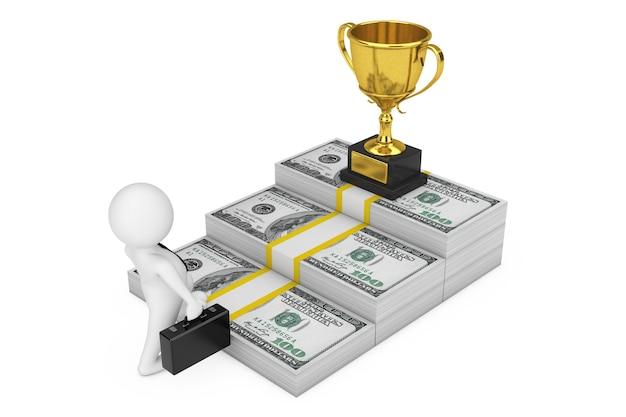 Weg naar succesconcept. zakenman klimt de trap van het geld van de dollar naar de career gold award trophy op een witte achtergrond. 3d-rendering