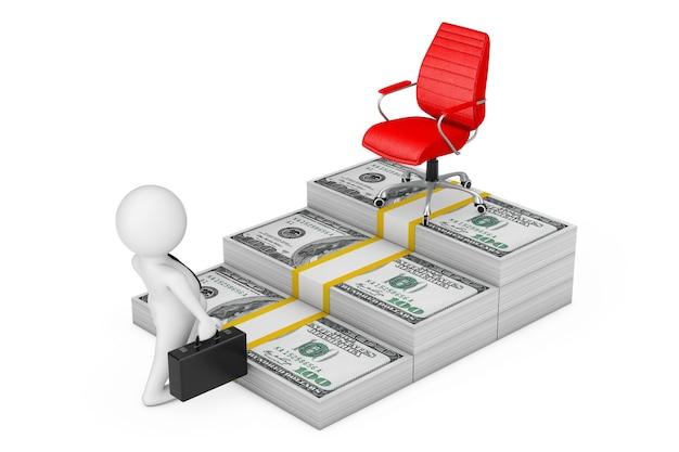 Weg naar succesconcept. zakenman klimt de trap van het geld van de dollar naar de carrière red big boss chair op een witte achtergrond. 3d-rendering
