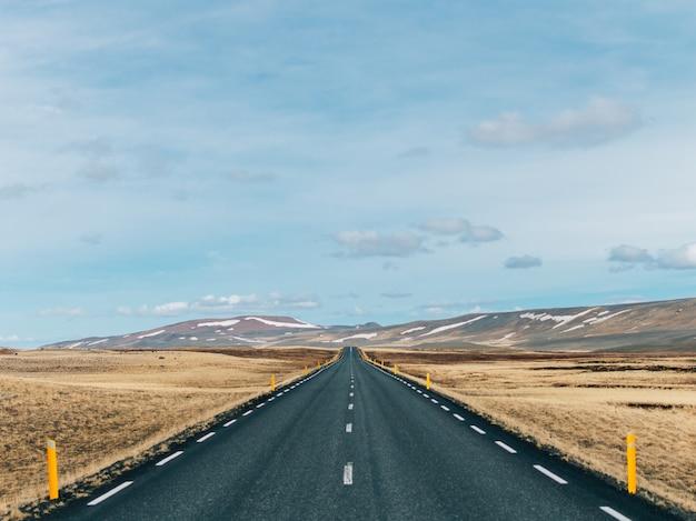 Weg omgeven door heuvels bedekt met groen en sneeuw onder een bewolkte hemel in ijsland