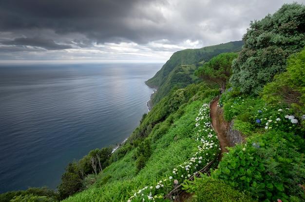 Weg omringd door bloemen aan de rand van de klif met uitzicht op de zee op bewolkte dag. sao miguel island. azoren