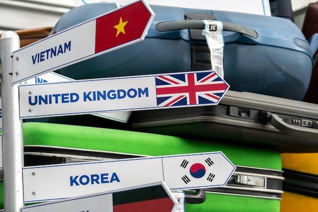 Wegwijzer gids naar landen over de hele wereld op terminal