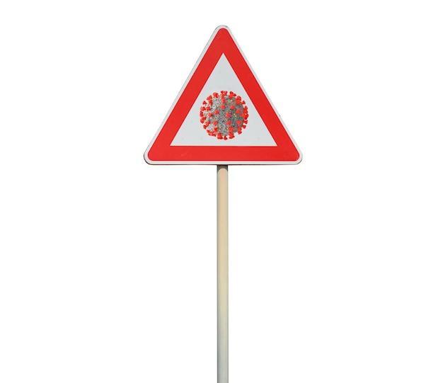 Wegwijzer met coronavirus simbol