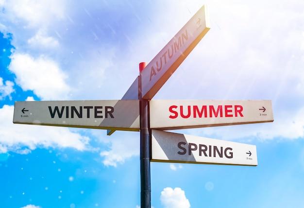 Wegwijzer richtingen de seizoenen tegen de hemel op een zonnige dag. mock-up. kopieer ruimte