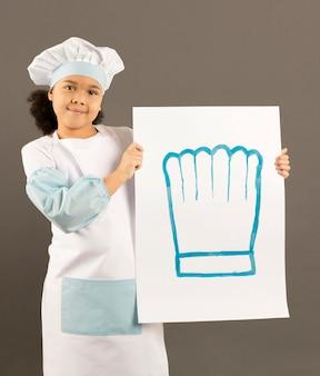Weinig afro-amerikaanse banner van de chef-kokholding