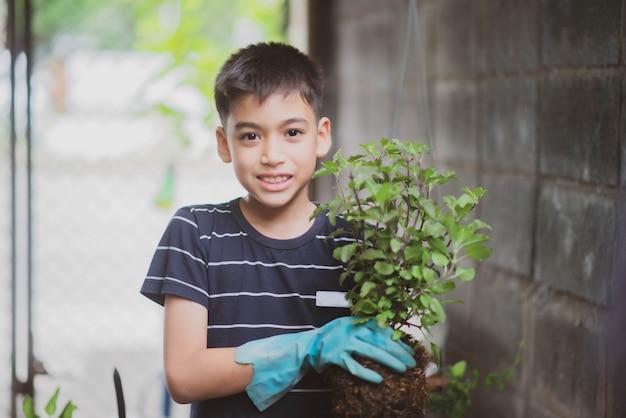 Weinig aziatische jongen die van het mengelingsras plantaardig tuinieren thuis planten