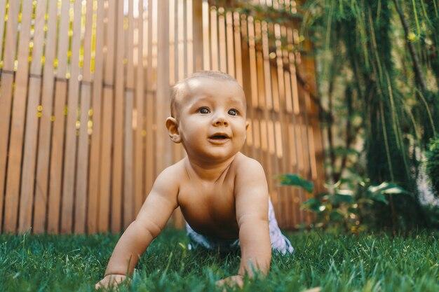 Weinig babyjongen die op groen gras kruipt