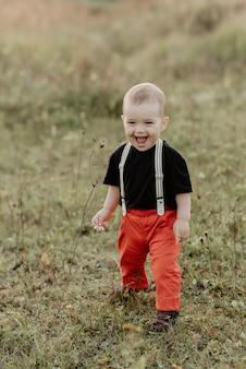 Weinig babyjongen glimlachen die zich op gras bevindt