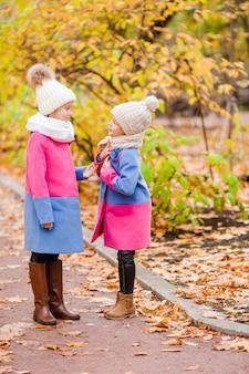 Weinig gelukkig meisje in openlucht op een warme de herfstdag. kinderen in de herfst