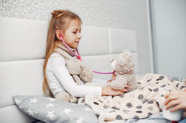 Weinig illnes-dochter in een slaapkamer