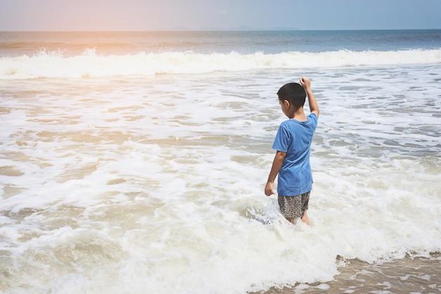 Weinig jongen die op het strand speelt