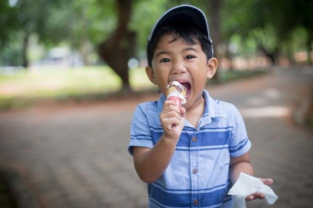 Weinig jongen die roomijs eet bij speelplaats met gelukkige tijd.