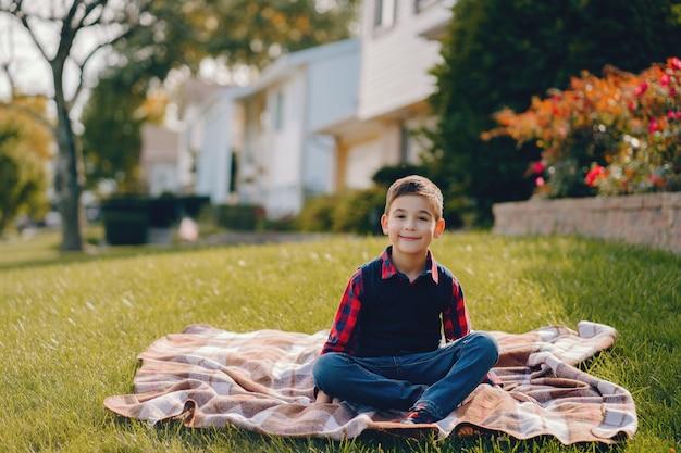 Weinig jongen in een de herfstpark