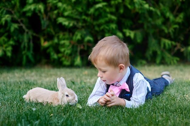 Weinig jongen met een konijn die op het gras liggen