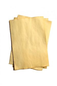 Weinig oude blanco stukjes antieke vintage afbrokkelende papieren manuscript of perkament