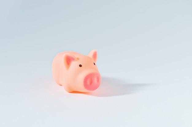 Weinig piggy op witte achtergrond als symbool van 2019