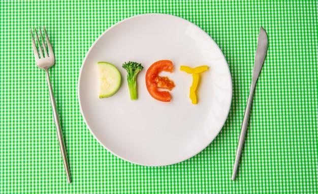 Wekelijks dieetplan. het concept van goede voeding. selectieve aandacht.
