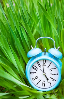 Wekker, blauwe klok op achtergrond van groen gras