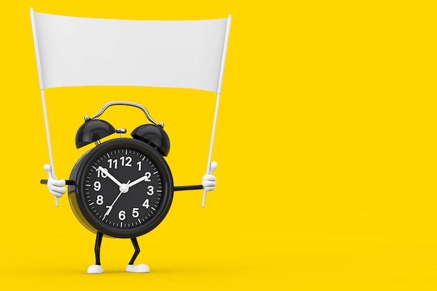 Wekker karakter mascotte en lege witte lege banner met vrije ruimte voor uw ontwerp op een gele achtergrond. 3d-rendering