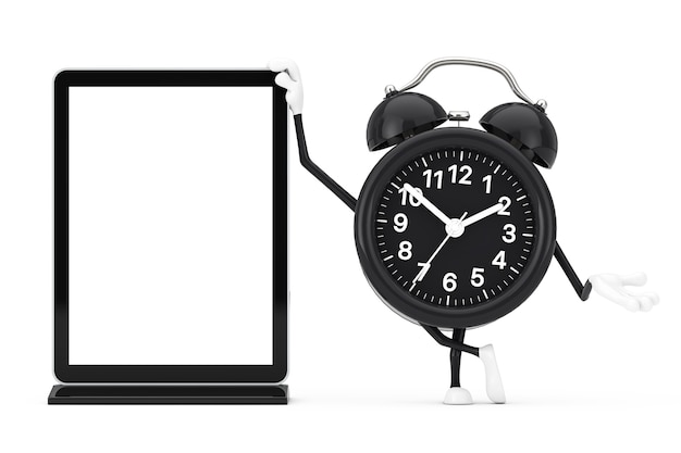 Wekker karakter mascotte met lege trade show lcd-scherm staan als sjabloon voor uw ontwerp op een witte achtergrond. 3d-rendering