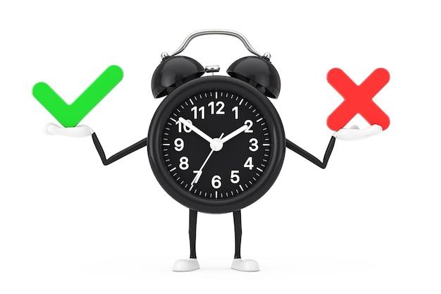 Wekker karakter mascotte met rode kruis en groen vinkje, bevestigen of ontkennen, ja of nee pictogram teken op een witte achtergrond. 3d-rendering