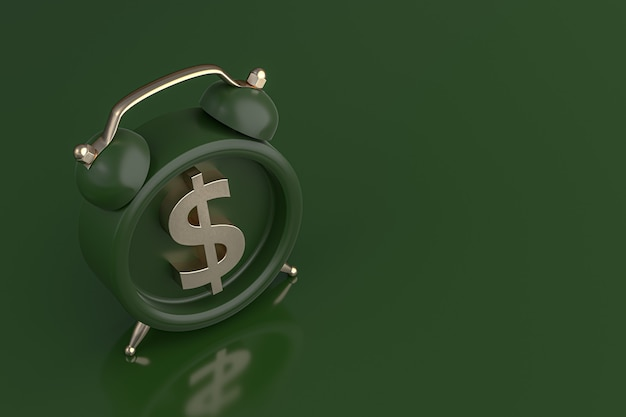 Wekker met gouden dollar symboolpictogram op groene achtergrond. 3d-rendering