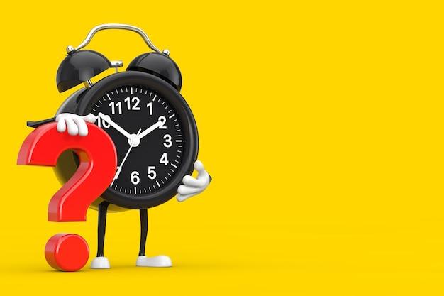 Wekker persoon karakter mascotte met rood vraagteken teken op een gele achtergrond. 3d-rendering