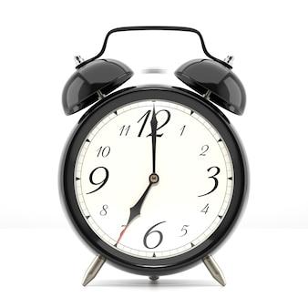 Wekker rinkelen. zwarte tafel plank vintage klok op witte achtergrond. 3d illustratie