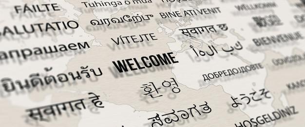 Welkom in verschillende talen op papier met wereldkaart achtergrond woorden wolk concept