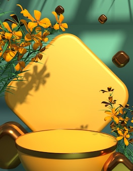 Welkom lente productpresentatie podium podium met gele bloem achtergrond 3d-rendering