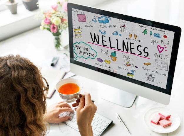 Wellness oefening gezondheid levensstijl voedingsconcept