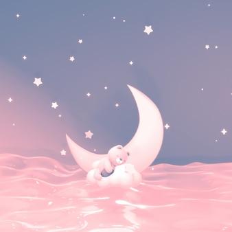 Welterusten en slaap lekker, schattige beer die 's nachts op een witte wolk boven de zee slaapt