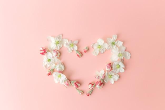 Wenskaart concept plat lag op roze achtergrond met appel bloesem hart vorm ornament rand. hoge kwaliteit foto