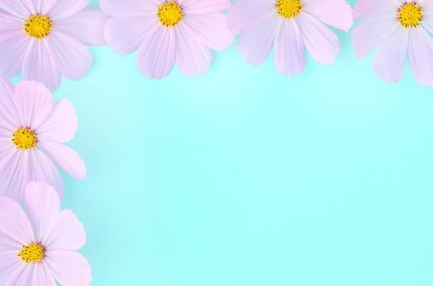 Wenskaart, delicate lila bloemen op groen en blauw