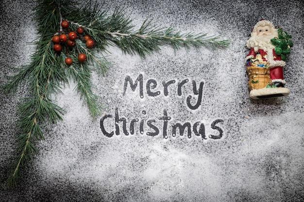 Wenskaart met feestelijke decoratie en tekst, merry christmas