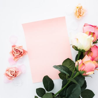 Wenskaart met rozen en bloemblaadjes op wit