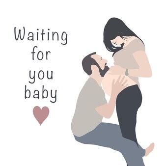 Wenskaart van een getrouwd stel in afwachting van de geboorte van een baby met de inscriptie die op je wacht, baby.