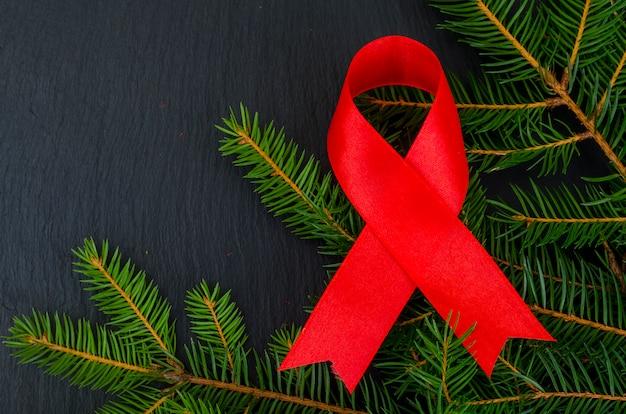 Wereld aidsdag, rood lint, symbool.