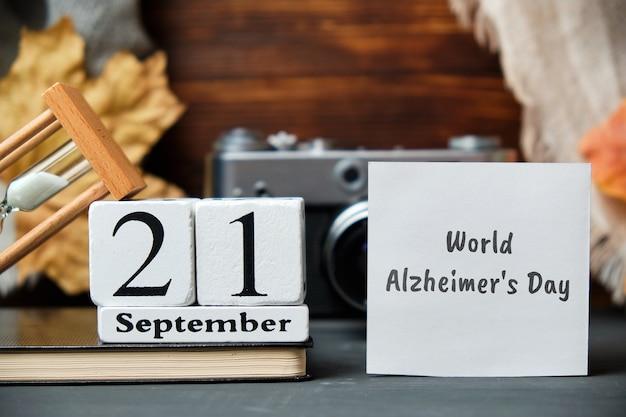 Wereld alzheimer dag met herfstversieringen