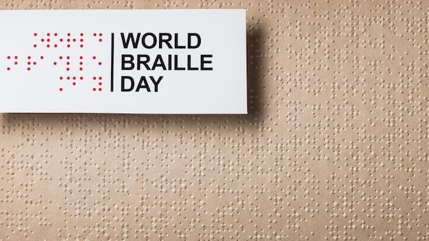 Wereld braille dag arrangement plat leggen
