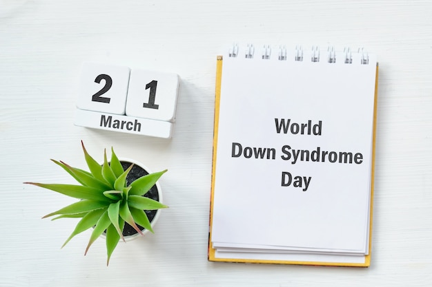 Wereld downsyndroom dag van de lente maandkalender maart.