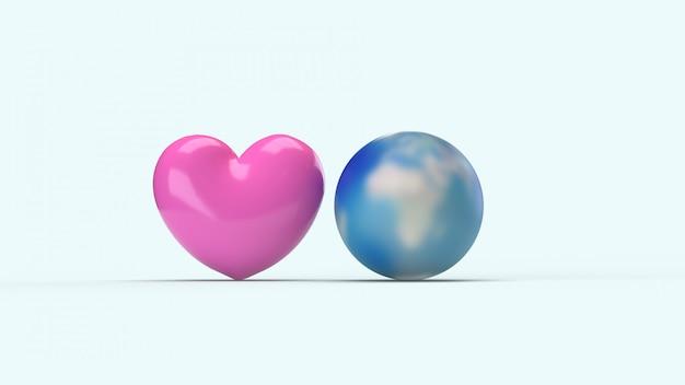 Wereld en roze hart voor vakantie-inhoud.