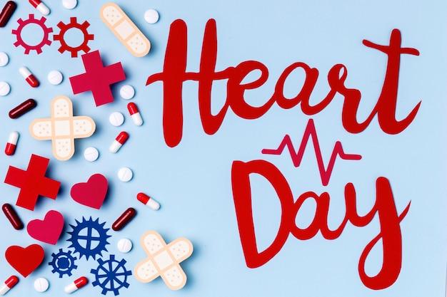 Wereld hart dag belettering concept