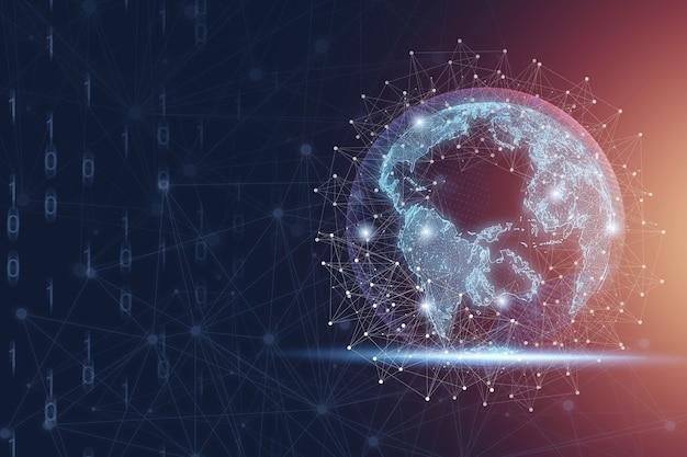 Wereld met verbindingslijn en gloeiend licht, wereldwijde netwerken voor zakelijke en technologische innovatie en big data-transformatieconcept