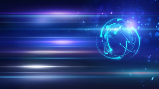 Wereld op bewegingsverlichting van kleur naar het toekomstige concept