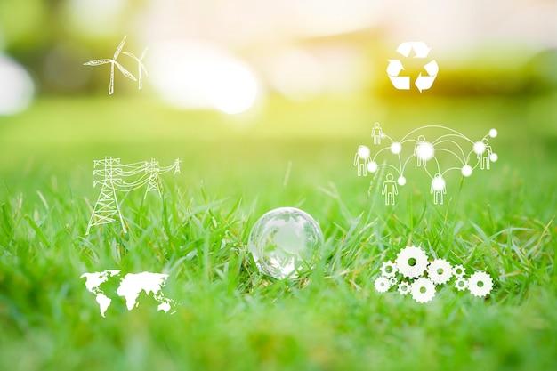 Wereld op groen, sparen aardeconcept.
