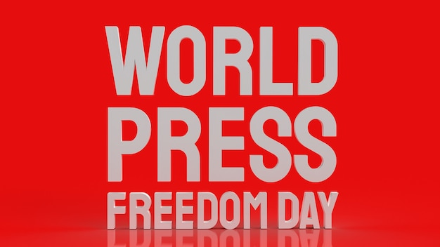 Wereld persvrijheid dag witte tekst op rode ondergrond
