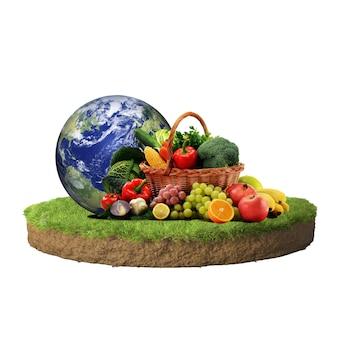 Wereld vegetarische dag met mand met groenten en fruit